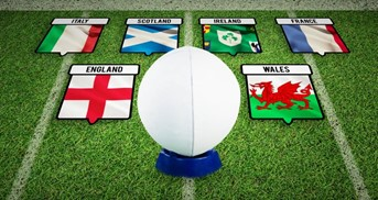 Rugby ball and country flags